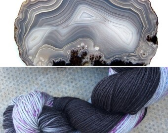 Iced Gems Agate speckled black grey gray indie dyed sock yarn