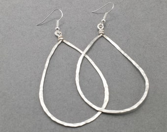 Rustic Hammered Silver Oval Hoops in 4 sizes H3