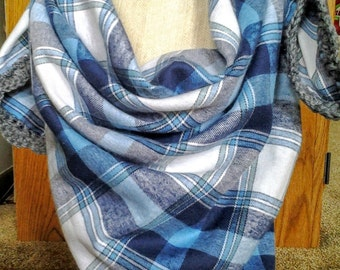 Blue Plaid Flannel Blanket Scarf with Crochet Edge