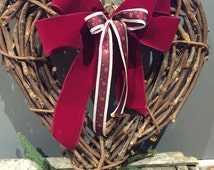 Rattan heart wreath -  Christmas wreath - Rustic wreath - Christmas decoration
