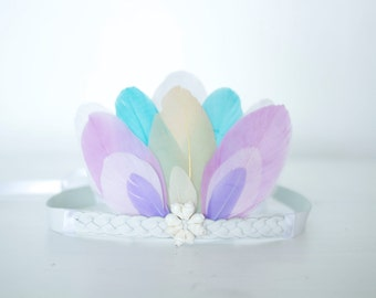 Gypsy Mermaid Girls-Baby Feather Crown with Shells