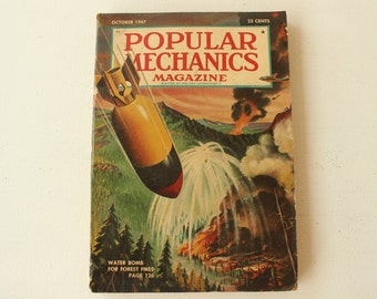 Popular Mechanics Magazine, October 1947, Volume 88, No. 4, Vintage Magazine, Father's Gift, Masculine Decor, Collectible