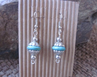 Turquoise earrings boho earrings silver bohemian earrings country cowgirl southwestern earrings boho jewelry dangle drop earrings
