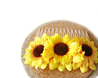Sunflower comb, sunflower hair comb, sunflower wedding hair comb, bridal hair comb, flower hair comb, sunflower hair clip, bridesmaid gift