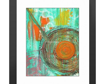 Big Band Art Print. Abstract Painting, Modern Art Print, Home Decor, Musical Art Print, 1940's, LP Record, Record Player, Music, Swing