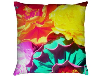 Flores Printed Throw Pillow. Cushion Cover, Apartment and Dorm Decor, Sofa Cushion, Mexican Paper Flowers, Tropical Decor, folkloric, Floral