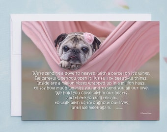 5x7 SYMPATHY CARD, We're Sending A Dove To Heaven, Sympathy Card by Pugs and Kisses