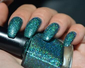 Manhattan Mermaids~Galaxy Gals Indie Nail Polish Holo Teal Green 2 Sizes 6/10ML
