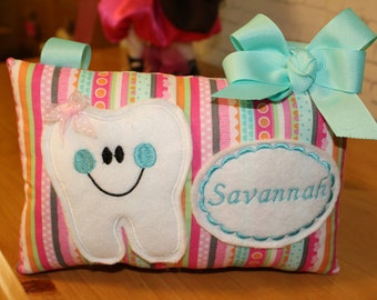 ToothFairy Pillow - Personalized Tooth Fairy Pillow - Tooth Pillow-Pink Tooth Fairy PIllow - Personalized Pillow-Comfort Pillow-Girils