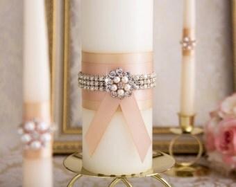 Wedding Unity Candle Set, Rose Gold Unity Candles, Blush Wedding Candles, Custom Color Wedding Candles, Rose Gold Wedding Candles