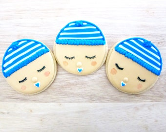 Sleeping Baby W/ Beanie Cookies - 1 Dozen - Baby Shower and Birthday