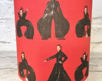 David Bowie lampshade - Bowie lampshade - red and black - 15cm - gift for Bowie fan - David Bowie gift