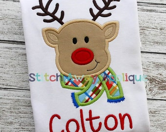 Reindeer Boy Christmas Machine Applique Design