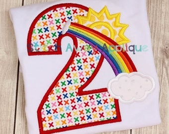 Rainbow Birthday Applique Numbers Machine Applique Design