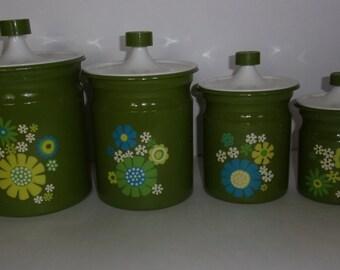 Vintage Set of 1960's Mod, Metal, Floral Kitchen Canisters