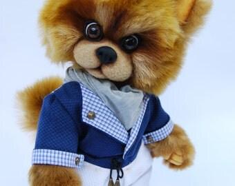 Pogo atrist teddy bear pomeranian puppy, OOAK, Handmade