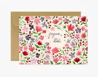 Merry christmas card, Greeting card, season greetings, stationery,flowers, vintage greeting card, joyeux noel, holidays card, happy, gold