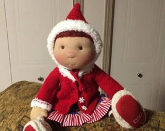 57-Christmas hat, vest and dress for 18' doll like Waldorf and American girl