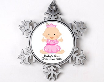 Baby Girl's 1st Christmas Ornament - Personalized Baby's First Christmas Ornament - New Baby Girl Christmas Gift