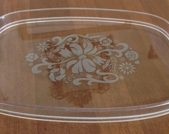 Vintage Clear Acrylic Serving Tray/ Retro Barware/ Mad Men