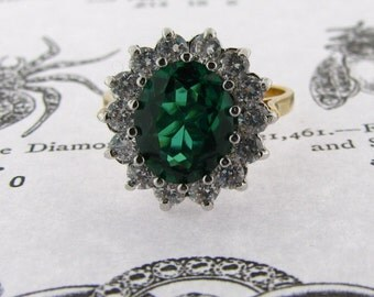 Classic Cluster ring set with emerald cz & godl vermeil
