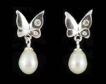 Sterling Silver Butterfly Pearl Drop Earrings, Freshwater Pearl Drop Earrings, Bridal Jewelry, Cubic Zirconia,Wedding Earrings