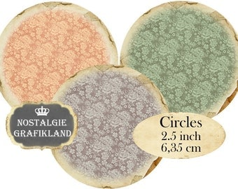 Circles 2.5 inch Vintage Background Rose Instant Download digital collage sheet C128