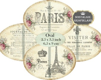 Paris French Shabby Chic Labels Eiffel Tower Louvre digitale Labels Ovals 3.5 x 2.5 inch Instant Download digital collage sheet O140