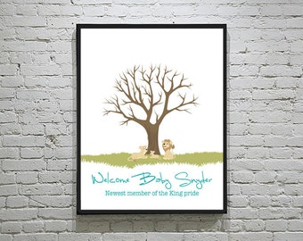 Baby Shower Thumbprint Tree Alternative Guest Book with Lion Family