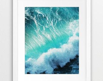 Beach Decor Print, Ocean Wall Art, Ocean Wave Print, Turquoise Blue, Beach Wall Decor, Sea, Water, Home Office Decor, Digital Printable Art
