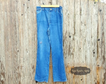 60s Wrangler Wide Leg Jeans With Heart Patch
