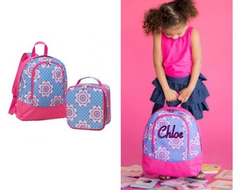Preschool backpack & Lunchbag (zoey pattern)