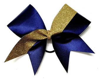 Cheer Bow- Navy w/Gold Glitter