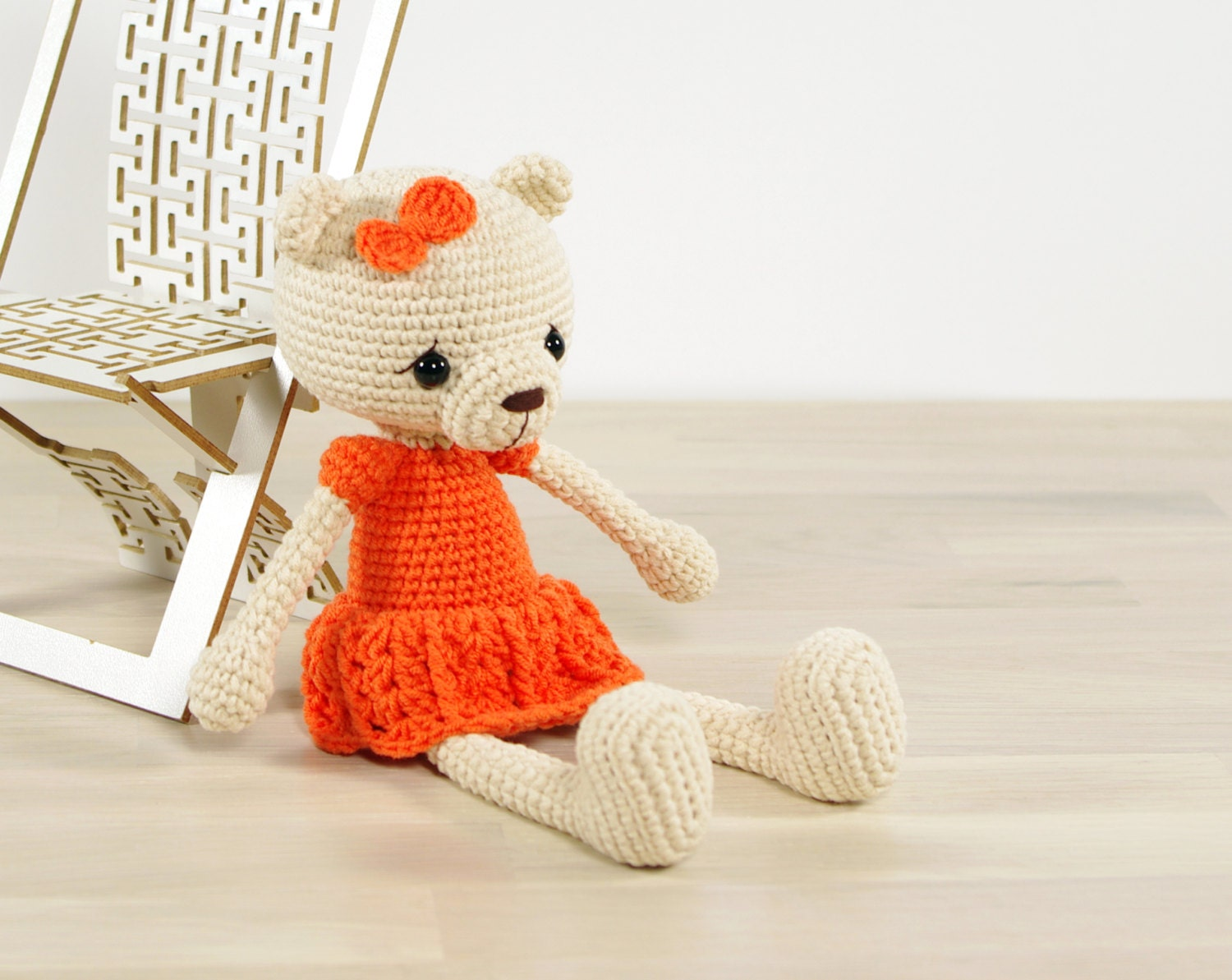 PATTERN: Teddy bear in a dress Amigurumi tutorial with