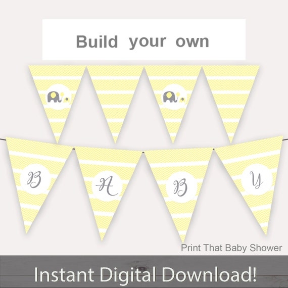 baby shower decorations yellow elephant baby shower banner