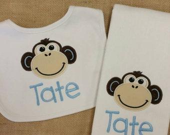 Monkey Burp Cloth and Bib Set, boy Burp Cloths, Burp Cloth and Bib set, appliqué Baby Gift, Shower Gift