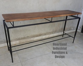 Industrial Sofa Table - Console Table - Vintage - Metal and Wood