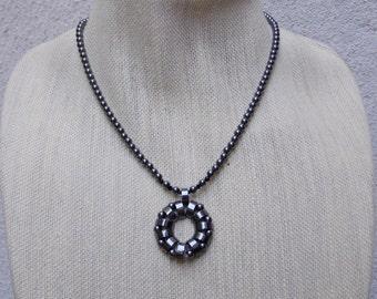 Handmade Hematite Pendant Necklace, Gun Metal Clasp