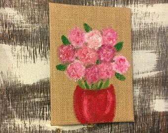 Acrylic Hydrangea Painting- Burlap Canvas Flower Painting- Burlap Painting- Acrylic Canvas Painting- Acrylic Floral Painting- Flower Art