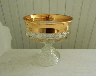 Clear Carnival Glass Pedestal Footed Compote - Footed Candy Dish - Indiana Glass Company - King's Crown Thumbprint Pattern Gold Rim Compote