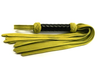 Lime Suede Classic Flogger - Black Braided Handle
