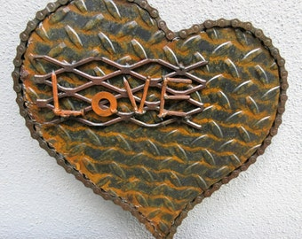 Weathered Heart of Steel - Love, Metal Sculpture, Heart Sculpture, Romantic Gift