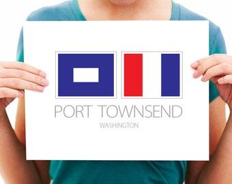 Port Townsend, WA - Nautical Flag Art Print