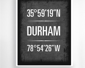 "Durham, North Carolina, Geographic Coordinate Print,  8"" x 10"" or 11"" x14"""