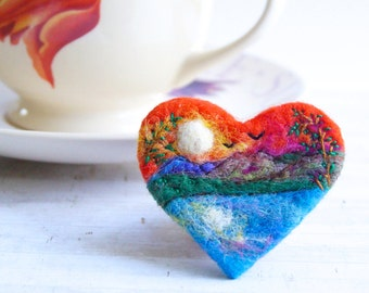 Sunset brooch, Felt Brooch, Needle felted brooch, anniversary gift, wool, 'Sunset by the Water', Gift for her, Love Heart, landscape art