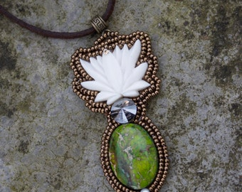 "zen lotus necklace, ocean green jasper ""Billy"""