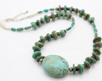 "Chunky Sterling Silver and Turquoise Bead Nugget Southwest Artisan Necklace 19"". [6241]"