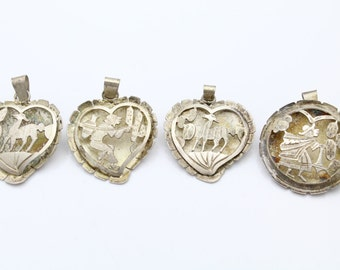 Lot of Vintage Sterling Silver Latin American Shadowbox Heart Pendant Brooches. [6766]