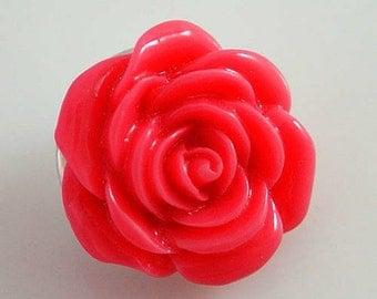 NEW! KB2294 3D Dark Coral Rose Resin Snap