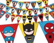 Superhero bunting banner, to decor your baby shower, inspired by superman, spiderman, batman, flash and captain america - Printable banner
